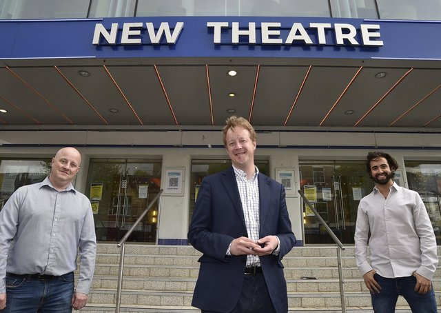MP for Peterborough Paul Bristow at the New Theatre, Broadway with  theatre director Richie Ross and Selladoor CEO David Hutchinson EMN-211005-150441009
