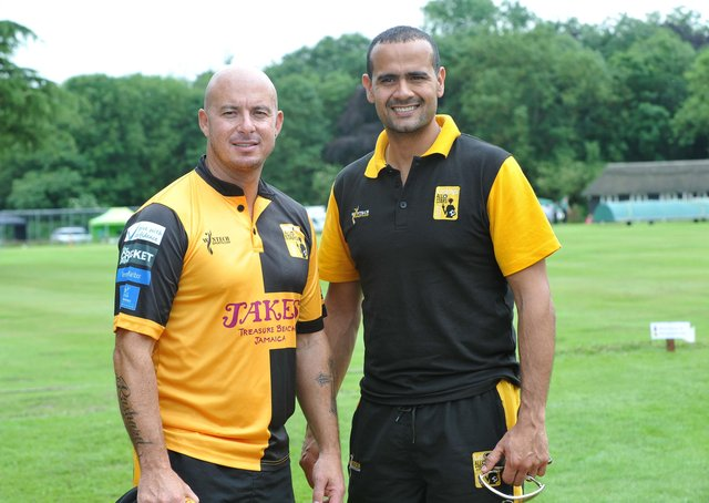 Owais Shah (right) with former South African Test star Herschelle Gibbs.
