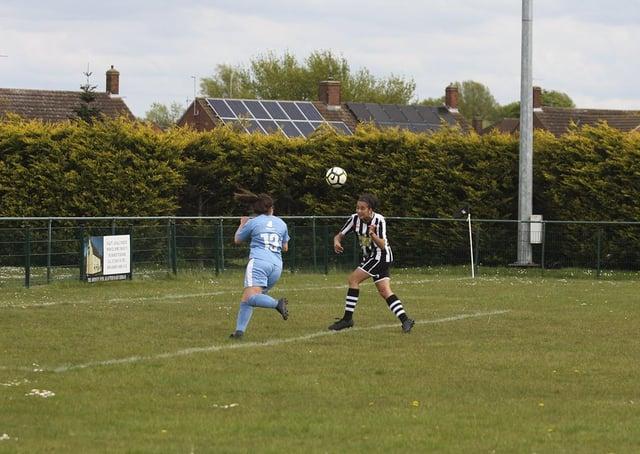 Andreia Oliveira scores for Peterborough Northern Star Reserves against Cambridge City. Photo: Tim Symonds.