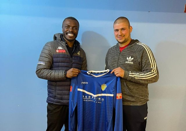 Spalding manager Gaby Zakuani (left) and new signing Gregg Smith.