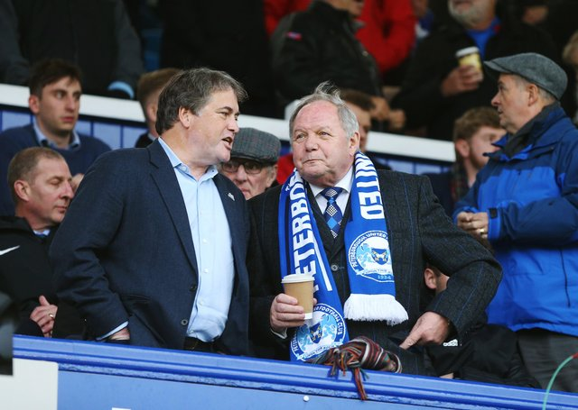 Posh co-owner Stewart 'Randy' Thompson with Barry Fry.