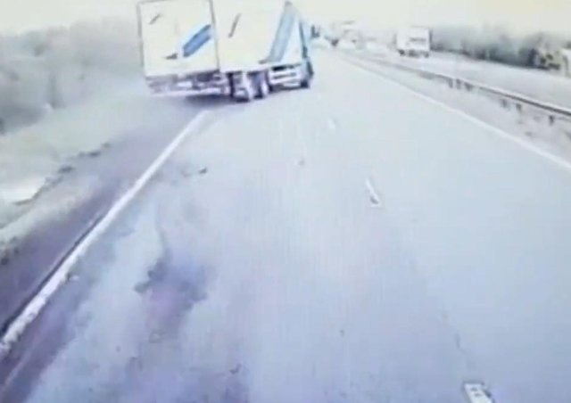 The moment the driver lost control was captured on camera