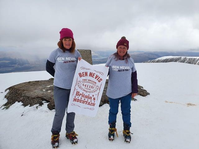 Diane Ahearne and Deborah Slator at the top of Ben Nevis