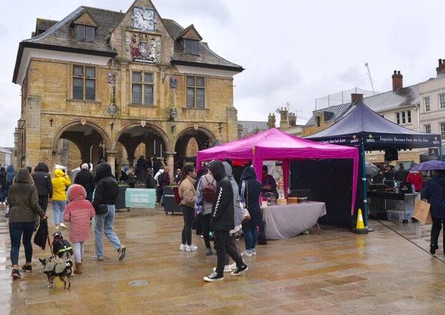The vegan market in Peterborough city centre today.