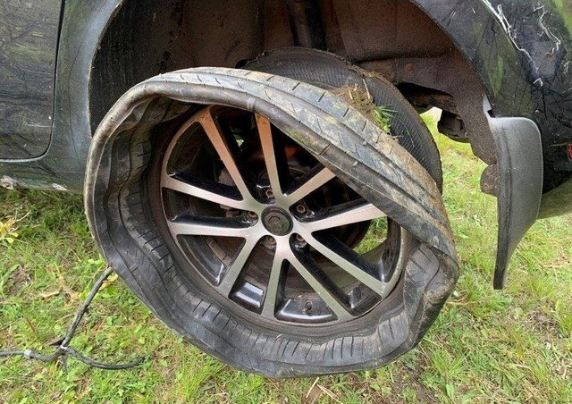 The tyre that blew out on an Audi TT on the A1M.