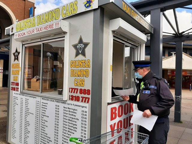 Leaflets are being handed out to businesses in the city