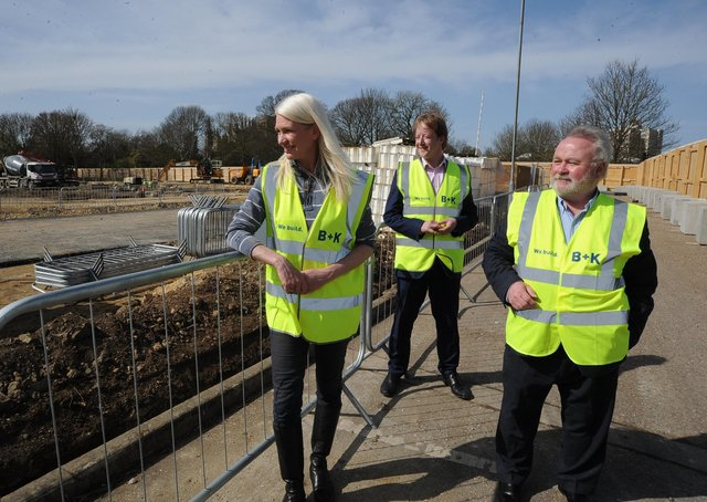 Cllr Wayne Fitzgerald, right,  during a visit to the university site at Bishop's Road.