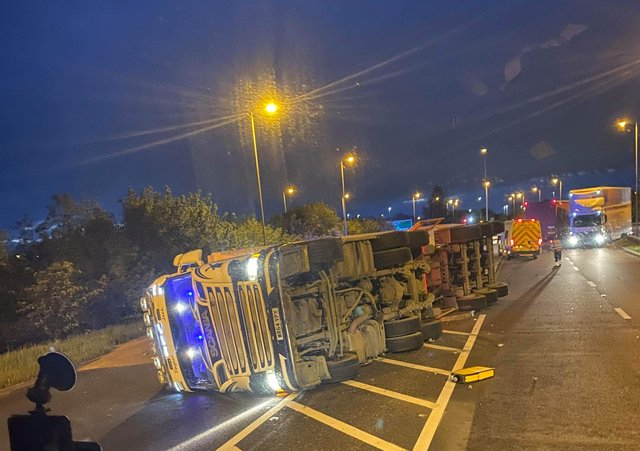 The overturned lorry on the A605. Photo: Kyle Parrish.