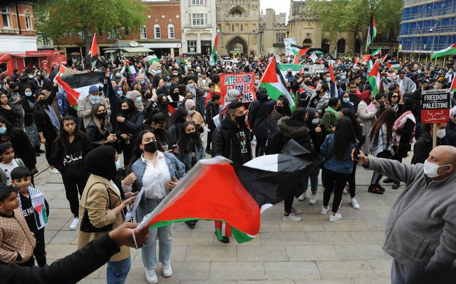 The Palestine protest in Peterborough's Cathedral Square. Pictures: Chris Lowndes
