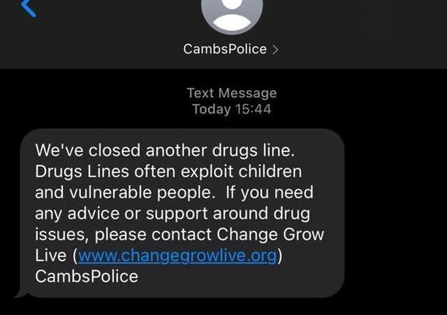 The text message sent by police