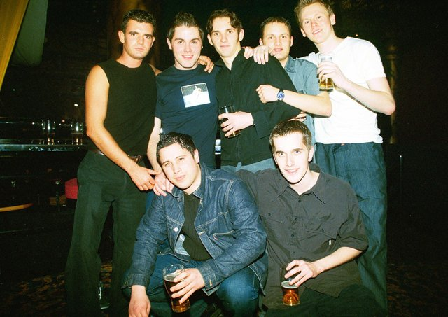 IN CROWD AT QUO VADIS.L-R.DAN BROWN,BEN WILLIAMS,BARRY BURTON,ANDY GROVES F/R.OLLIE HURFORD,CHRIS JOLLEY,THOMAS LILLEY F/L.