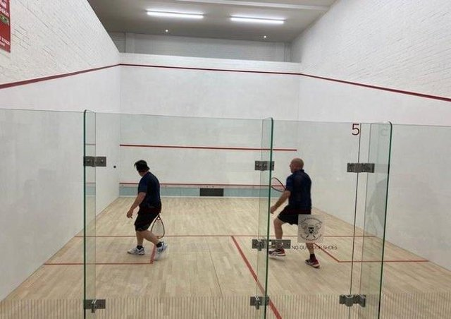 Action on the new City of Peterborough squash court.