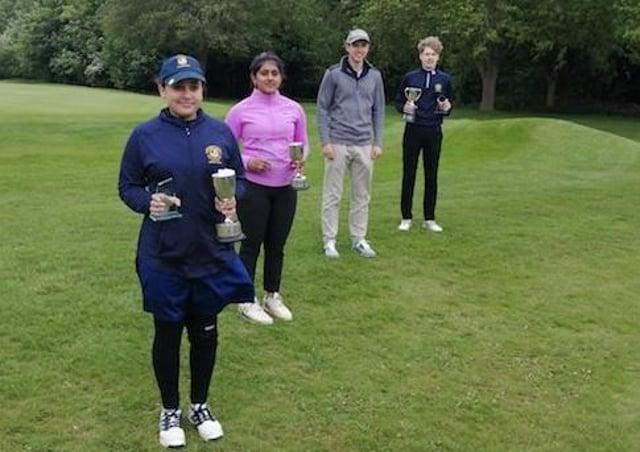 Milton's county champions, from left, Maliha Mirza, Shivani Karthikeyan, Jacob Leeds and Euan Herson.