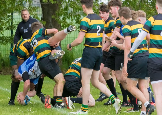 A spectacular try for Peterborough Lions Colts against Deeping. Photo: Mick Sutterby.