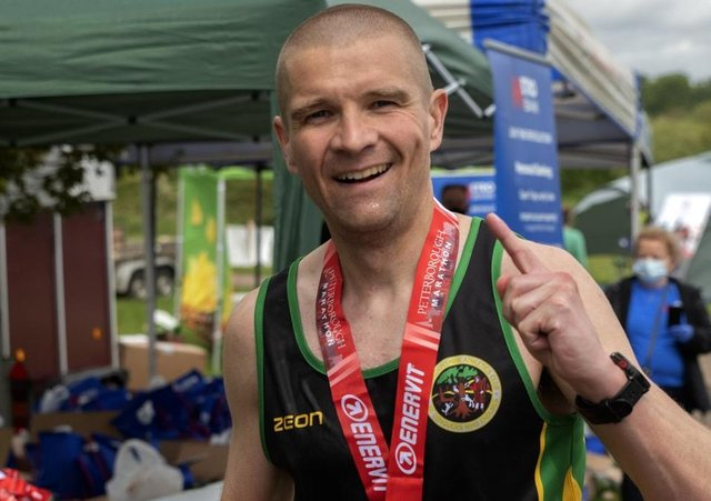 Peterborough Marathon winner Dave Hudson. Photo: Steve  Inger  Photography.