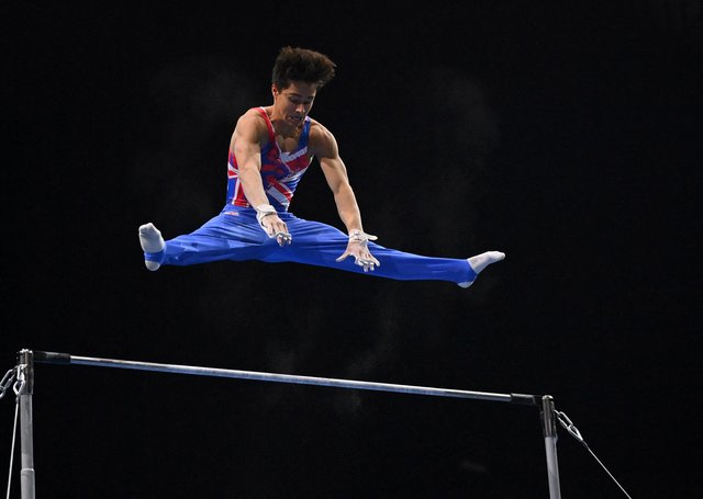 Jake Jarman competes in the high bar competition during the Men's all-around final of the 2021 European Artistic Gymnastics Championships at the St Jakobshalle, in Basel, on April 23, 2021. (Photo by Fabrice Coffrini Getty Images).