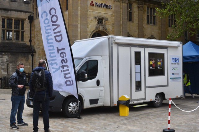 The testing van in Cathedral Square earlier this week