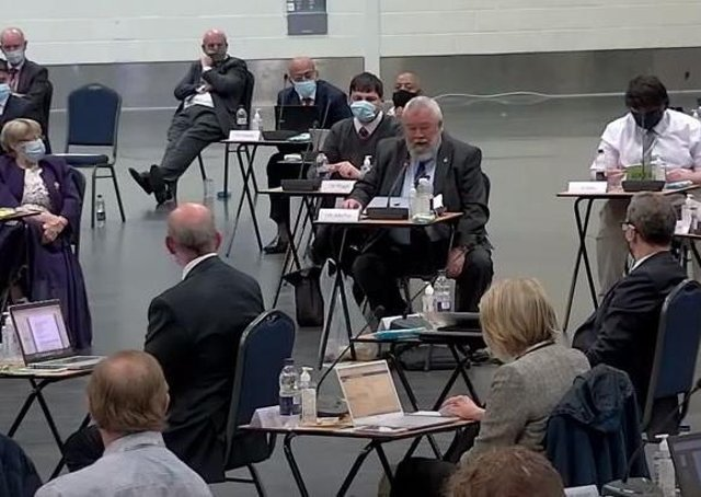 Werrington First's Cllr John Fox addresses the full council meeting.