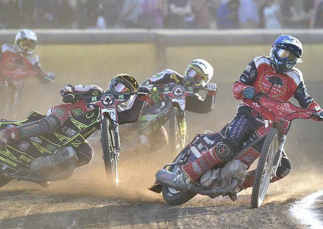 Panthers' Ulrich Ostergaard leads heat four in the Premiership meeting with Belle Vue. Photo: David  Lowndes.