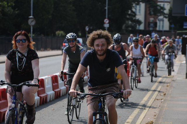 The first critical mass cycle ride in Peterborough
