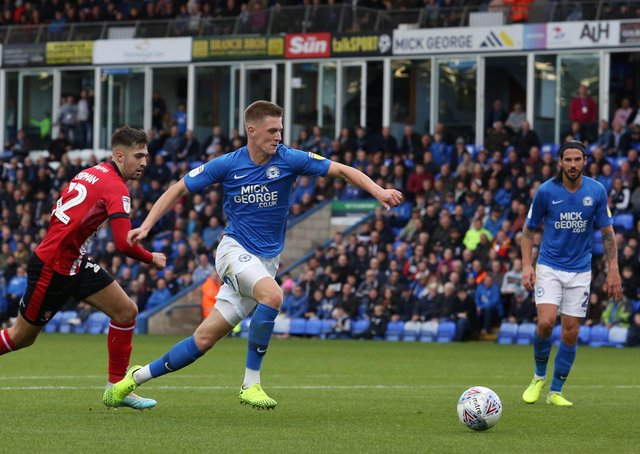 Josh Knight  in action for Posh.