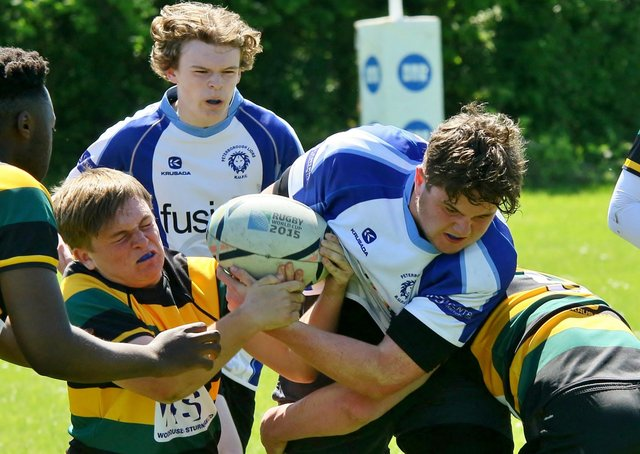 Action from Peterborough Lions Colts (blue) v Deeping. Photo: Mick Sutterby.