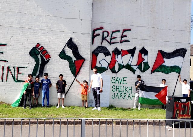 Free Palestine and Gaza mural on the property in Bridge Street.