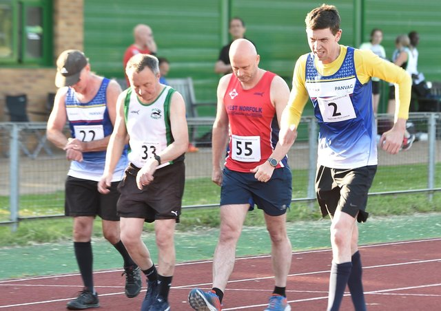 James McDonald (2) won the one-mile walk event at the Easter Masters event at the Embankment. Photo: David Lowndes.