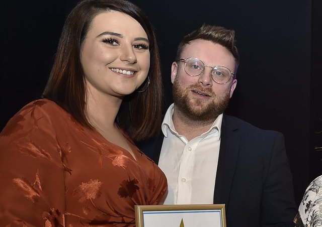 Amber Izzo pictured with husbandd Marco at the Peterborough Telegraph Pride in Peterborough awards in 2019 where they were recognised for their work in campaigning on IVF funding.