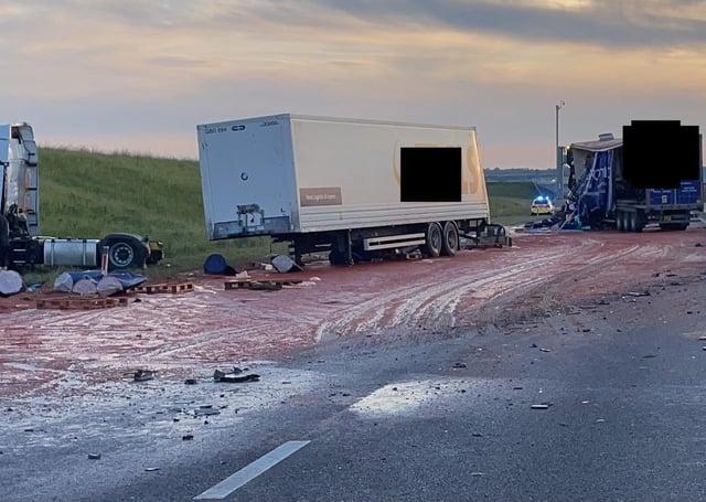 Tomato spills onto the A14.