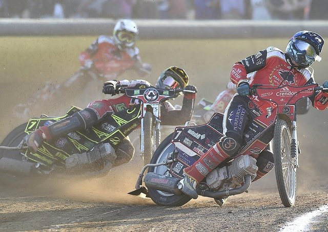 Ulrich Ostergaard in front for Panthers in the Bank Holiday home meeting with Belle Vue. Photo: David Lowndes.