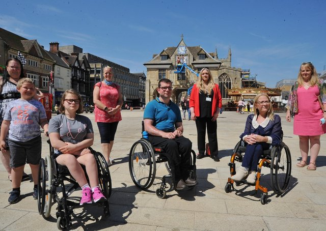 The launch of the Peterborough Unlimited campaign. From left: Hayley, Matthew and Rebecca Stannard; Samanatha Stokes; Graham Barnes; Julie Howell; Julie Fernandez and Sarah Pilbean
