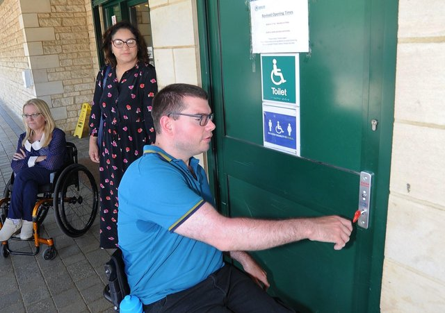 Graham Barnes trying to access the Changing Places toilet at Car Haven Car Park