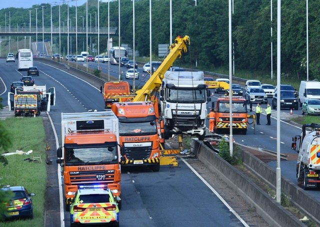 The scene of the crash on Fletton Parkway. Picture: David Lowndes