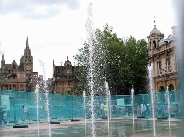 The fountains in Cathedral Square