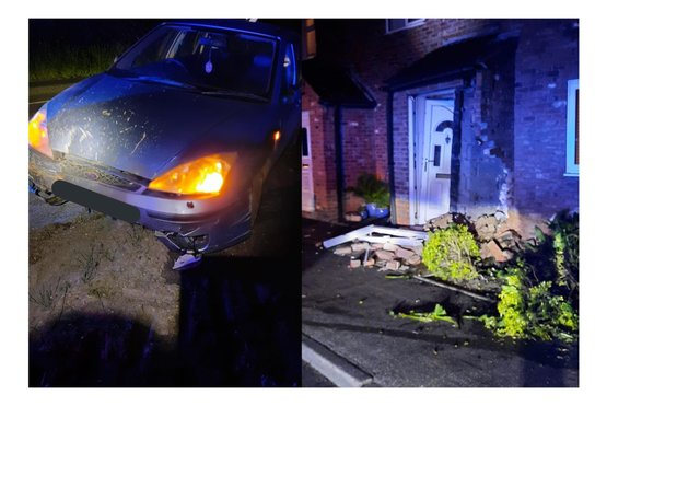 The car, and the damage caused to the house