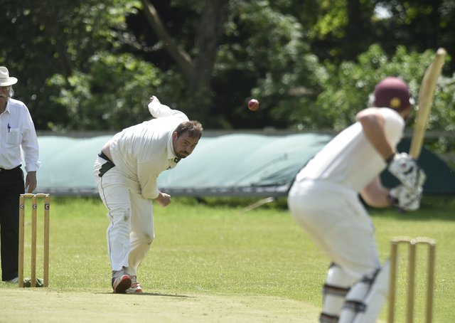 <p>Ufford  Park skipper Joe Harrington bowling for Ufford Park against Old Leysians. Photo: David Lowndes.</p>
