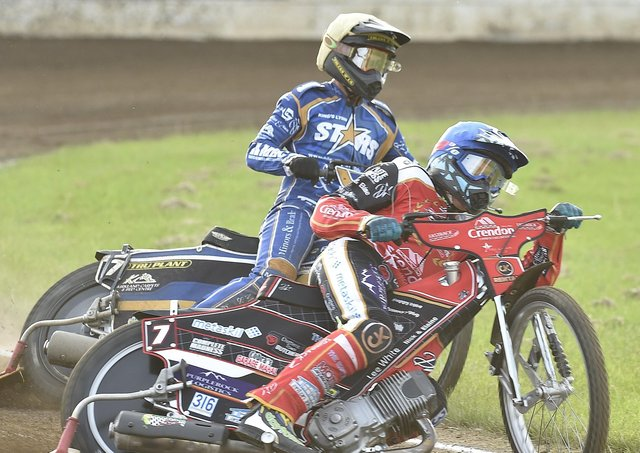 Peterborough Panthers star Ulrich Ostergaard in action in Heat 4 of the big win over King's Lynn. Photo: David Lowndes.