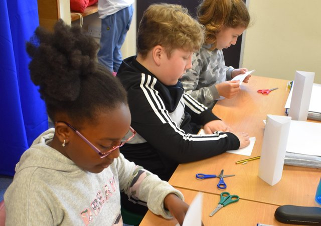 The pupils taking part in STEM activities