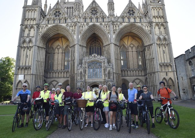 The riders outside Peterborough Cathedral.