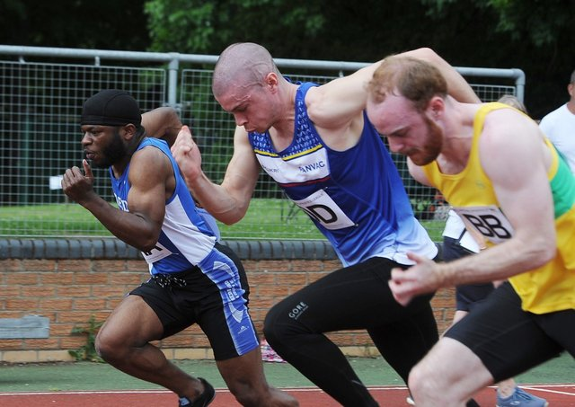 PANVAC's Joel Stern (centre) in the seniors 100m sprint at the National League meeting on the Embankment. Photo: David Lowndes.