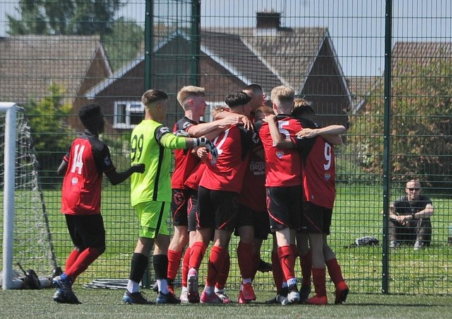 Netherton celebrate their second goal in the JPL National Under 18 semi-final at the Grange. Photo: David Lowndes.