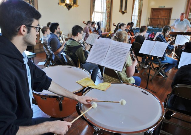 Peterborough Youth Orchestra rehearsing.