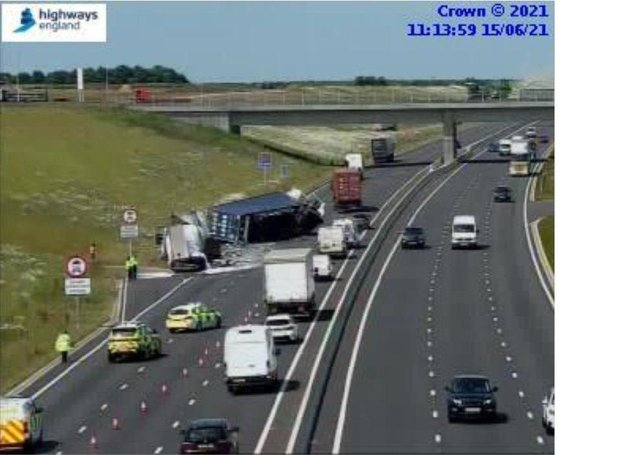 Two lorries have collided on the A14.