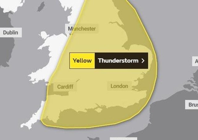 The Met Office yellow warning for thunderstorms covers much of the country.