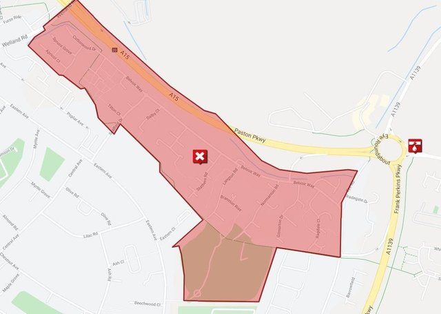 The area of Welland affected by the burst water main.