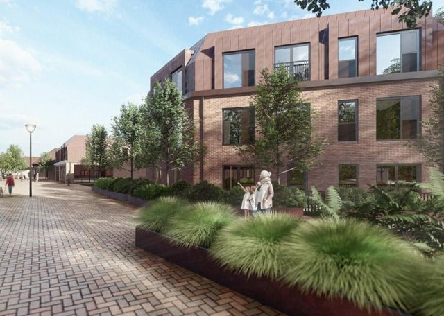 A proposed view of the flat developments in Staniland Court.