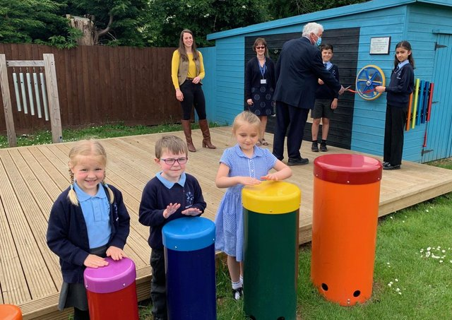 Discovery Primary Academy's outdoor music area.