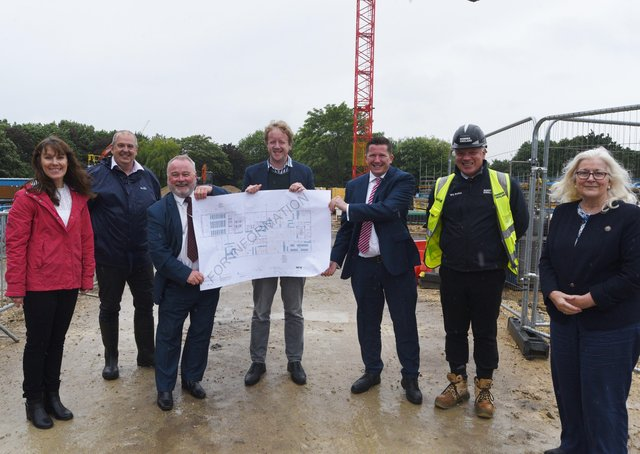 Levelling up fund bid at the University site at Bishop's Road. The official party with Council leader Wayne Fitzgerald, MP for Peterborough Paul Bristow and Principal Professor Ross Renton. Picture: David Lowndes