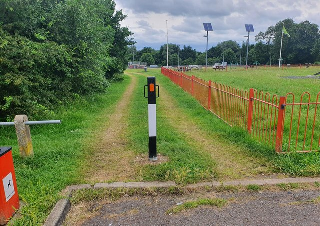 New bollards in place at Manor Farm Park in Eye.